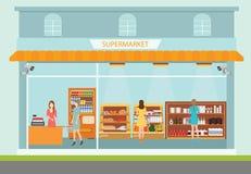 Construção e interior do supermercado com os produtos de compra dos povos Ilustração Stock