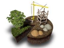 Construção e natureza, rendição 3d Fotos de Stock