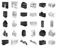 Construção e preto da arquitetura, ícones do esboço em coleção ajustada para o projeto O vetor da construção e da moradia isométr ilustração do vetor
