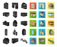 Construção e preto da arquitetura, ícones lisos em coleção ajustada para o projeto O vetor da construção e da moradia isométrico ilustração stock