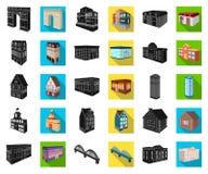 Construção e preto da arquitetura, ícones lisos em coleção ajustada para o projeto O vetor da construção e da moradia isométrico ilustração royalty free
