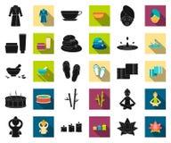 Construção e preto da arquitetura, ícones lisos em coleção ajustada para o projeto O vetor da construção e da moradia isométrico ilustração do vetor