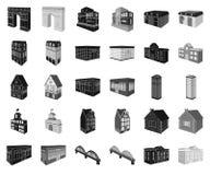 Construção e preto da arquitetura, ícones monocromáticos em coleção ajustada para o projeto O vetor da construção e da moradia is ilustração stock