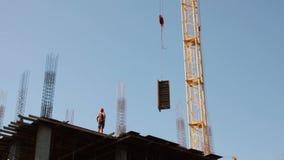 construção Edifício Homem armadura Guindaste video estoque