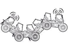 A construção esboçada estranha do robô da máquina da terra trabalha veículos dos componentes ilustração royalty free