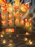 A construção está queimando-se ilustração stock