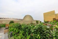Construção exterior dourada do hotel de Nobu na cidade dos sonhos em Manila Foto de Stock