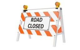 Construção fechada estrada da barricada Fotografia de Stock Royalty Free