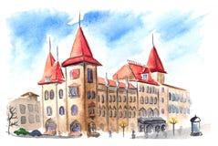 Construção gótico conservadora de Saratov com telhados vermelhos Imagem de Stock