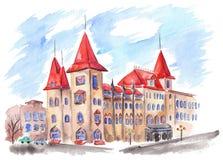 Construção gótico conservadora de Saratov com telhados vermelhos Imagens de Stock