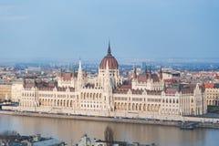 Construção húngara do parlamento - Budapest, Hungria em março de 2016 Foto de Stock Royalty Free