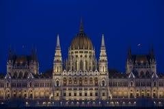 Construção húngara do parlamento na noite Imagem de Stock