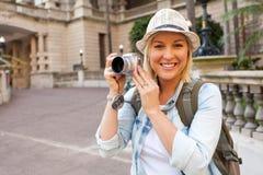 Construção histórica da câmera do turista fotos de stock royalty free