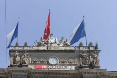 Construção histórica do estação de caminhos-de-ferro de Suíça de Zurique Fotografia de Stock