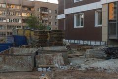Construção incompleta com material de construção Foto de Stock Royalty Free