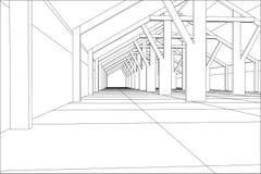 construção industrial do Fio-quadro interna no branco Ilustração de seguimento de 3d ilustração royalty free