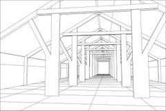 construção industrial do Fio-quadro interna no branco Ilustração de seguimento de 3d ilustração stock