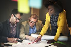 Construção interior Team Meeting Brainstorming Concept fotografia de stock royalty free