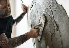 Construção interna da parede do cimento do emplastro Imagens de Stock