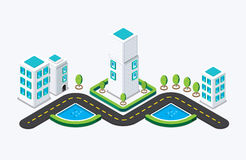 Construção isométrica da cidade Ilustração do vetor Fotografia de Stock Royalty Free