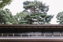 Construção japonesa do estilo tradicional com os pinheiros no fundo fotos de stock