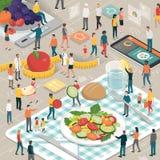 Construção junto e refeição saudável ilustração royalty free