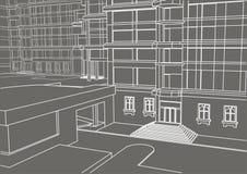 Construção linear arquitetónica do esboço em poucos níveis no fundo cinzento Fotografia de Stock Royalty Free