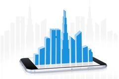 A construção modela o sinal da venda na tela de Smartphone Foto de Stock Royalty Free