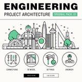 Construção moderna da engenharia bloco grande Linha fina archit dos ícones Fotografia de Stock Royalty Free