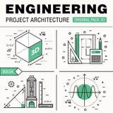 Construção moderna da engenharia bloco grande Linha fina archit dos ícones Imagens de Stock Royalty Free