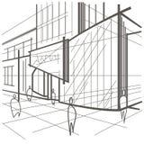 Construção moderna do esboço arquitetónico, fragmento da rua no fundo branco Foto de Stock