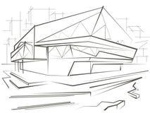 Construção moderna do esboço arquitetónico no fundo da cidade Fotos de Stock