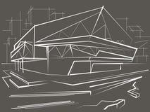 Construção moderna do esboço linear no fundo da cidade cinzento Fotografia de Stock