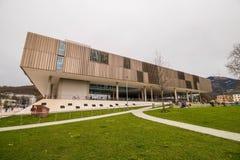 Construção moderna do terreno de Unipark Nonntal da universidade de Salzburg, Áustria Fotografia de Stock Royalty Free