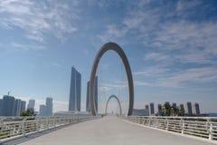 Construção moderna - ponte de cabo do anel dobro Fotografia de Stock