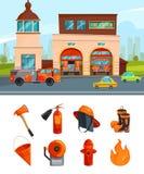 Construção municipal de serviços do quartel dos bombeiros Isolado das imagens do vetor no branco ilustração stock