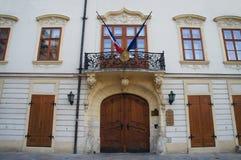 Construção na cidade velha de Bratislava fotografia de stock