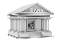 Construção na máquina do ATM do dinheiro do banco como a construção de banco rendição 3d Foto de Stock