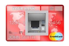 Construção na máquina do ATM do dinheiro do banco no cartão de crédito rendição 3d Imagens de Stock