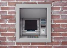 Construção na máquina do ATM do dinheiro do banco rendição 3d Imagens de Stock Royalty Free
