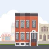 Construção na rua Rua da cidade com construções urbanas Ilustração lisa do vetor Imagem de Stock Royalty Free