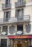 Construção no Las Ramblas, Barcelona da fachada Foto de Stock