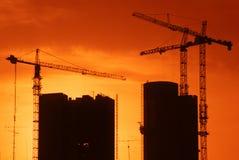 Construção no por do sol Fotografia de Stock