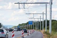 Construção nova de eHighway em Alemanha fotografia de stock royalty free