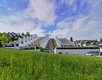 Construção pisada, casas do terraço com chaminé grande, pilha Verde no primeiro plano Fotografia de Stock