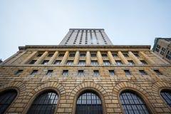 Construção principal da torre de Royal Bank em Montreal, Quebeque, Canadá Royal Bank eleva-se é uma elevação alta do ` 1920 s fotografia de stock