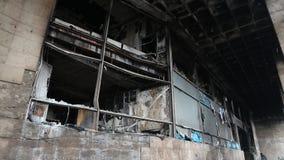 Construção queimada do sindicato em Kiev, Ucrânia filme