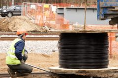 Construção railway nova Fotos de Stock Royalty Free