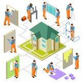 Construção, reconstrução e reparo do conceito isométrico do vetor da casa ilustração do vetor