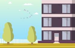 Construção residencial do pátio da ilustração do vetor ilustração do vetor